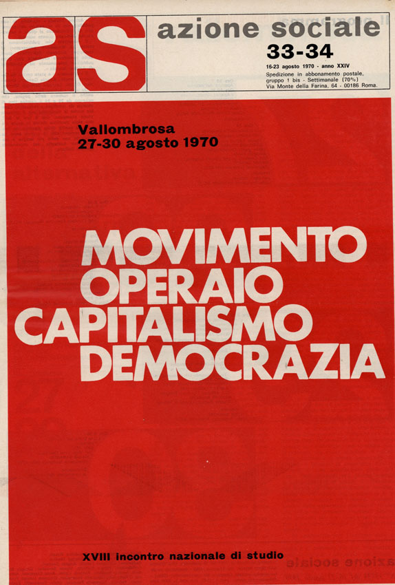 Prima pagina di Azione Sociale n.33-34, 16-23 agosto 1970